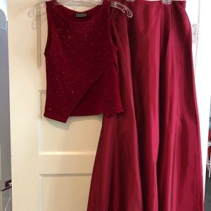 Red Set (Top with Sequins and Long Skirt)